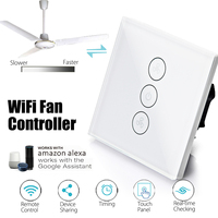 EU 3 Gang Wifi APP Timer Panel Smart Ceiling Fan Switch Works With Alexa Google Control Speed Remote Regulation Home Wall Switch