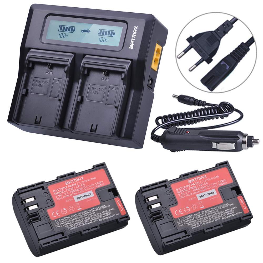 2Pcs Sanyo Cell LP-E6 LP E6 LP-E6N Battery + Rapid LCD Dual Charger for Canon EOS 5DS 5D Mark II Mark III 6D 7D 60D 60Da 70D 80D