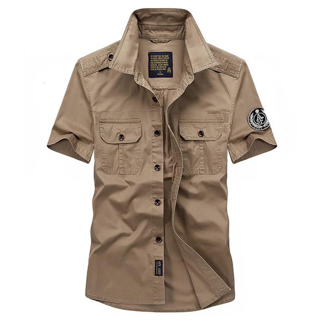 Alta calidad 2017 Del Verano ocasional de los hombres de marca 100% puro algodón corto afs jeep camisas hombre de manga camisa de color caqui verde del ejército tops s-4xl