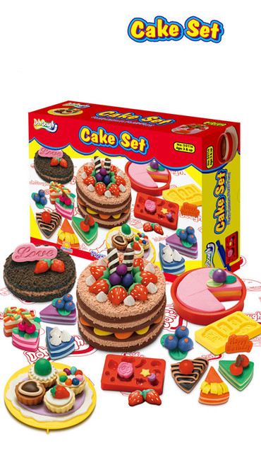 New Style Cake Set Model Play Dough Baby Toy, Creative Handmade DIY Toy Plasticine for Children Good Quality Free Shipping