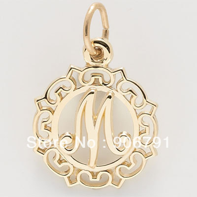 Best Selling Free Shipping New Style 100pcs A Lot Letter M Charm Is 2 Dimensional