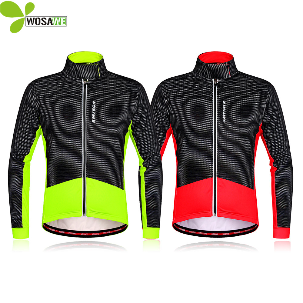 WOSAWE Thermal Fleece Winter Cycling Jackets Men Cycle Clothing Windproof Ropa Ciclismo Coat MTB Reflective Bike Windbreaker цена 2017