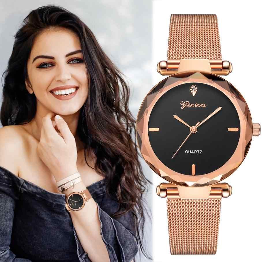 2019 Femmes Montres Top Marque De Luxe décontracté Rondes En Acier Inoxydable Doré Avec Strass Cristaux Quartz charme Simple Reloj Mujer