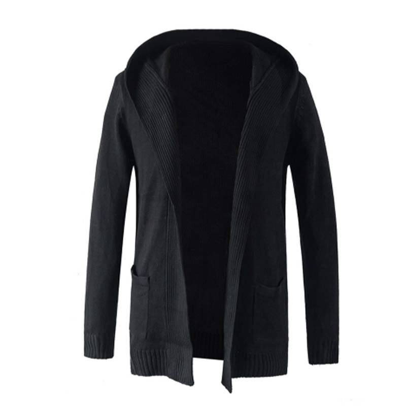 2018 Autumn Man Fashion Long Sleeve Open Front Cardigan Coat Slim Fit Male Tops Basic Black Hooded Jacket Business Outwear