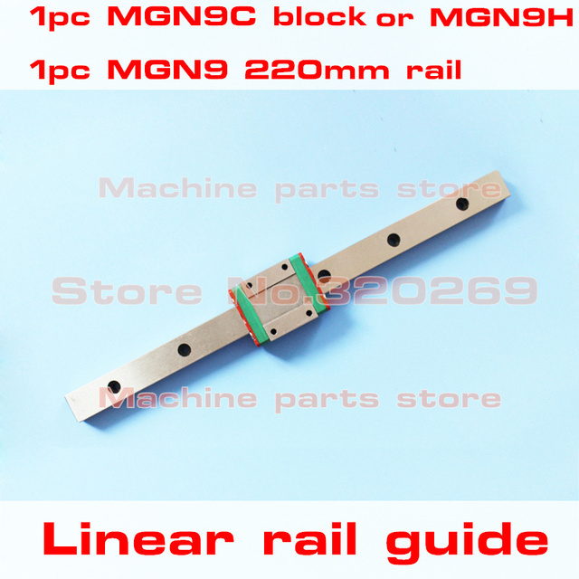 Kossel Mini 9mm miniature linear guide MGN9 220mm rail way MGN9H Long carriage for CNC X Y Z Axis MGN9C square carriage
