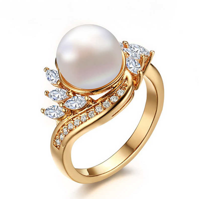 Trendy Gold Color Simulated Pearl Rings For Women Fashion