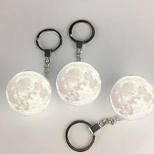 Chaveiro de luz de decoração em forma de lua, portátil, 3d, luz branca, criativa, presente, durável e prático