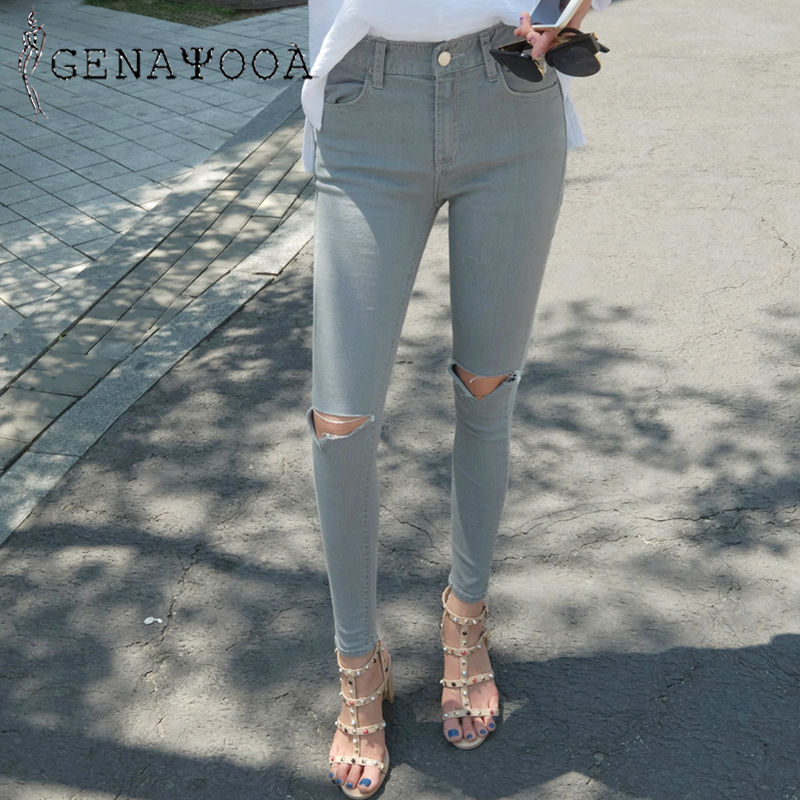 Genayooa Grey Skinny Jeans Woman Ripped Ankle-Length Summer Korean Sweetwear Pencil Pants Cotton Denim High Waist Jeans 2019