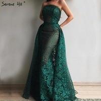 ירוק כהה יוקרה תחרת פאייטים סטרפלס שמלות ערב עם רכבת דובאי Robe De Soiree Vestido מסיבת לבוש הרשמי