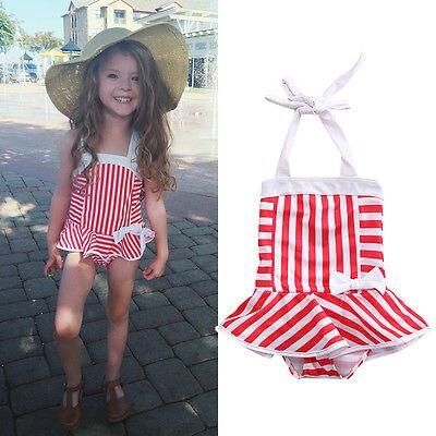Toddler Baby Kids Red Striped Bow Bikini Swimsuit Swimwear