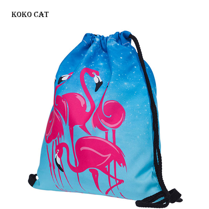 Fashion Women Drawstring Bag Unique Flamingo Printing Draw Pocket Ladies Beach Travel Bags Outdoor Color Sack Mochila Feminina