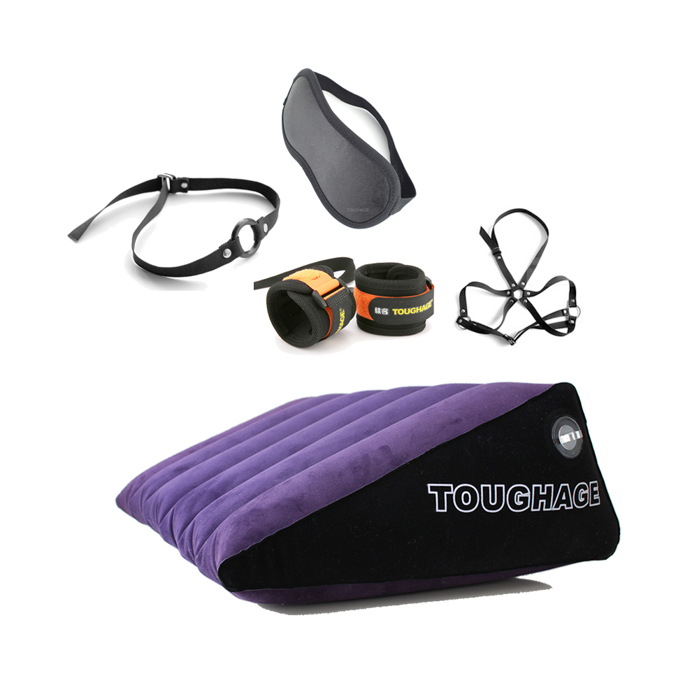 TOUGHAGE Inflatable Sex Cushion + 4pcs SM Toys Handcuffs Eye Mask Mouth Gag Breast Bondage Sex Pillow Sex Toys For Couples latex headmask with inflatable gag latex rubber fetish headhood latex hood black head mask with mouth gag back zipped
