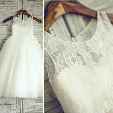 2019 robes de demoiselle d'honneur pour les mariages a-ligne Scoop Floor longueur Tulle dentelle longues robes de première Communion pour les petites filles