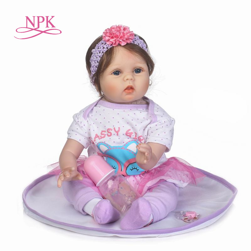 NPK 55cm Soft Body Silicone Reborn Baby Doll Toy For Girls NewBorn Girl Baby Birthday Gift To Child Bedtime Early Education Toy цена