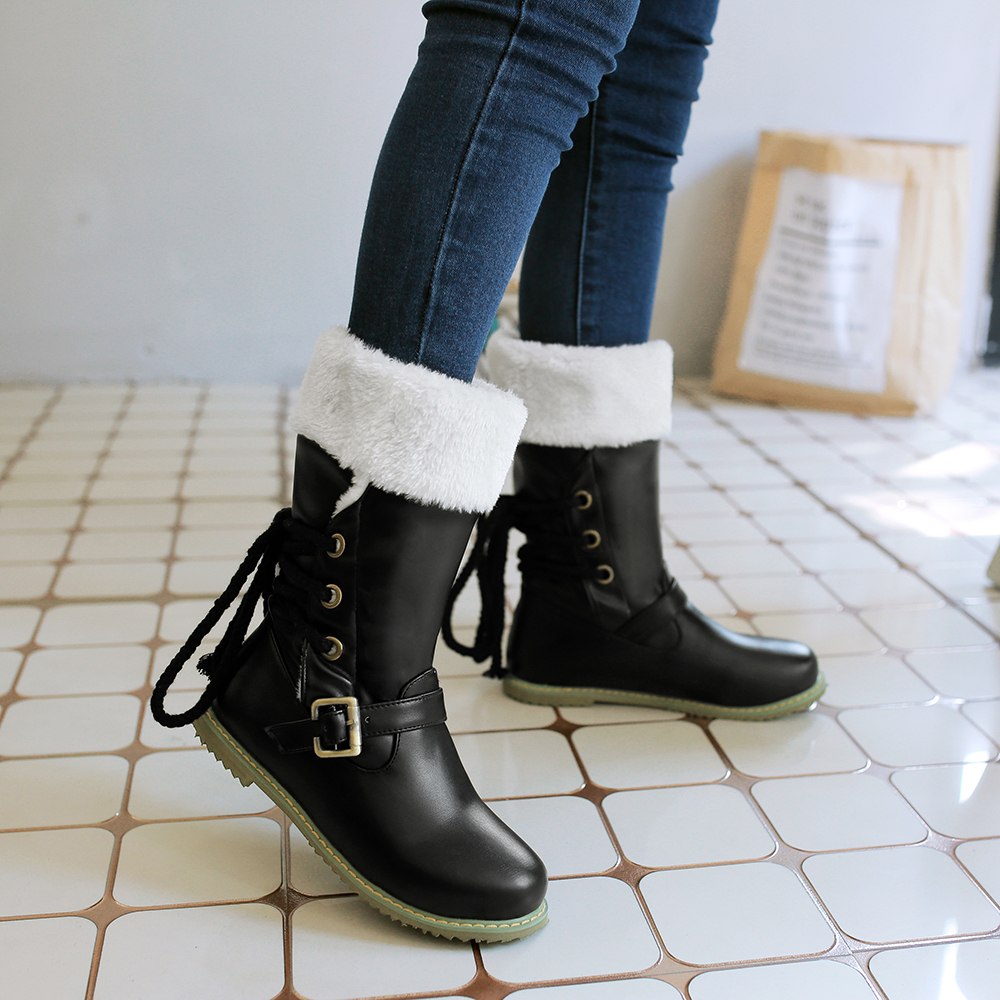 2017 Botas Mujer Snow Boots Plus Big Size 34-52 New Round Toe Buckle Boots For Women Casual Heels Fashion Warm Winter Shoes 500 цены онлайн