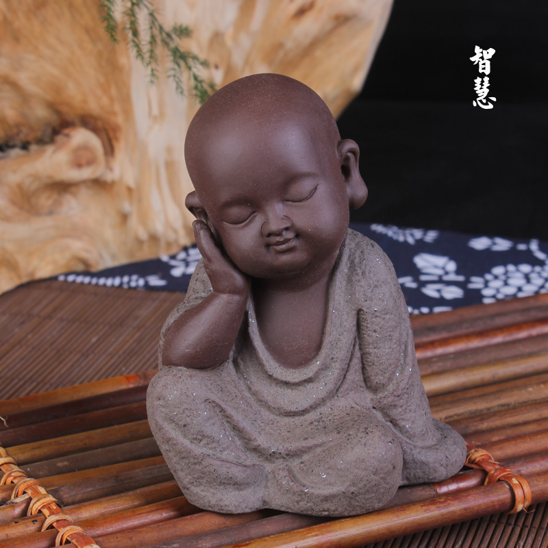 Fine sand monk Buddha monk Tea creative decorations Home gifts Desktop decoration