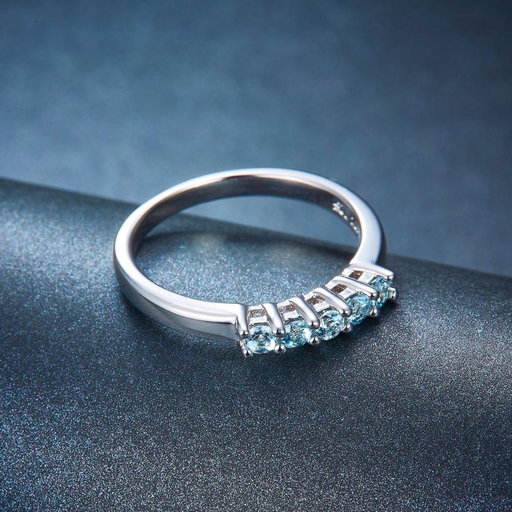 Hutang Bryllup Ringe Fem Sten Naturlig Aquamarine Solid 925 Sterling - Smykker - Foto 3