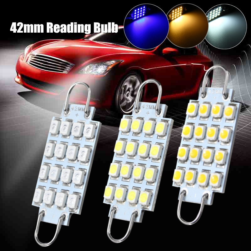2pcs 42mm C5W Car Interior Rigid Loop Light 16 Led Festoon Dome Light Reading Bulb Lamps Warm White/Bule/White 12V