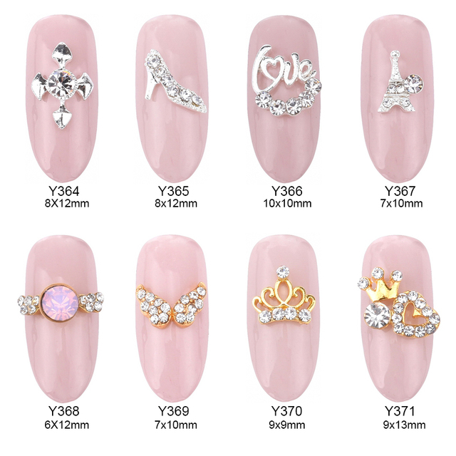 10pcs Gold Crown Rhinestone Nail Design Alloy 3d Nail Art Supplies