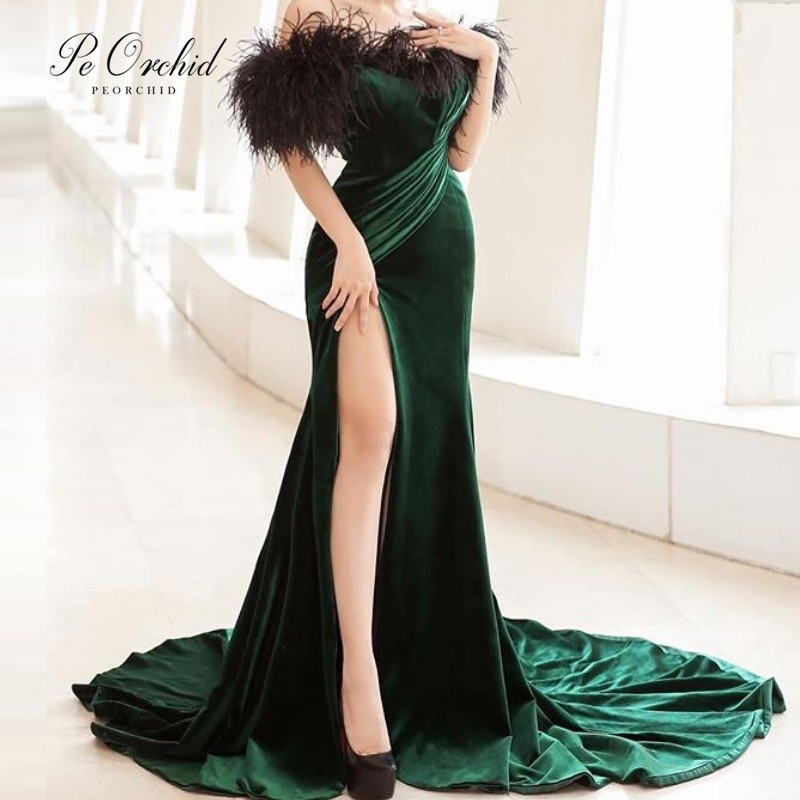 PEORCHID Long Velvet Mermaid Green Evening Formal Dresses Feathers Off Shoulder Robes De Soiree 2019 Sexy Slit Prom Gowns
