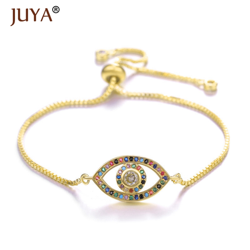Juya new design 2019 handmade Copper inlaid Color Rhinestone Evil Eye Turkish Eye Bracelets Women Femme Jewelry bileklik bayan in Chain Link Bracelets from Jewelry Accessories