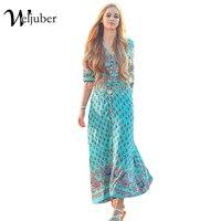 Weljuber Women Beach Boho Maxi Dress 2017 Summer Plus Size High Quality Brand V Neck Print