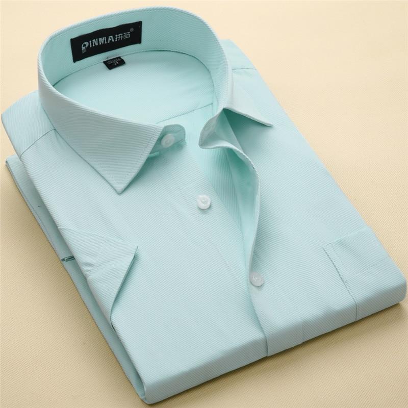 Plus size S to 8xl Summer short sleeve regular fit men'sdress shirt turn down collar twill/Plain large male clothes