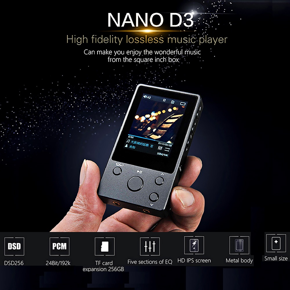 xDuoo NANO D3 HiFi Lossless Music MP3 Music Player with HD OLED Screen Support APE/FLAC/ALAC/WAV/WMA/OGG/MP3 2017 xduoo nano d3 professional lossless music mp3 hifi music player with hd oled screen support ape flac alac wav wma ogg mp3