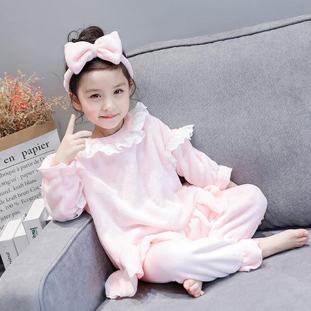 f8f599d12c84 Flannel baby Pyjamas Kids Korean version lace princess Pink Cotton ...