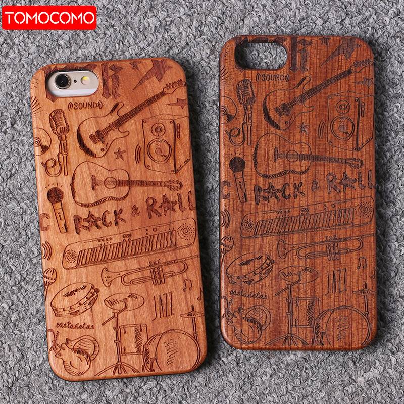 TOMOCOMO Real Bamboo Rock Guitar Wood Case For iPhone 7 6 Plus 8 8Plus Case Coque Phone Accessories For SAMSUNG S8 S9 Plus Cover