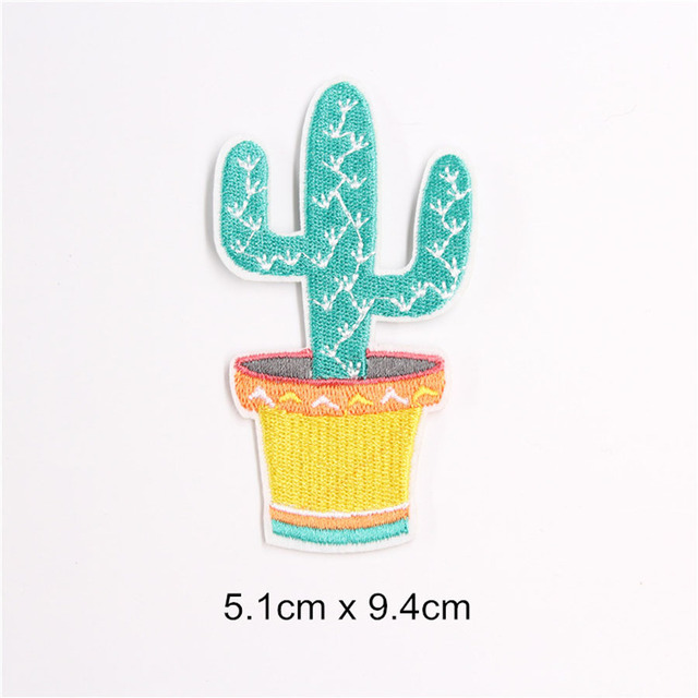 Embroidered Cactus Iron On Applique Patch