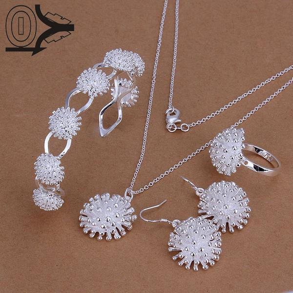 Nice Hot Sale Silver Plated Jewelry Set,cheap Bridal Party Sets,fashion Fireworks Silver Necklace Bangle Ring Earring Four-piece Fast Color
