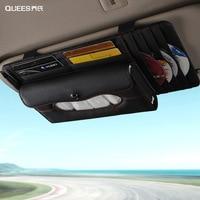 Multi functional Storage Bag Car Auto Sun Visor Sunshade Leather Car Visor Clip Organizer Tissue CD Parking Card Holder