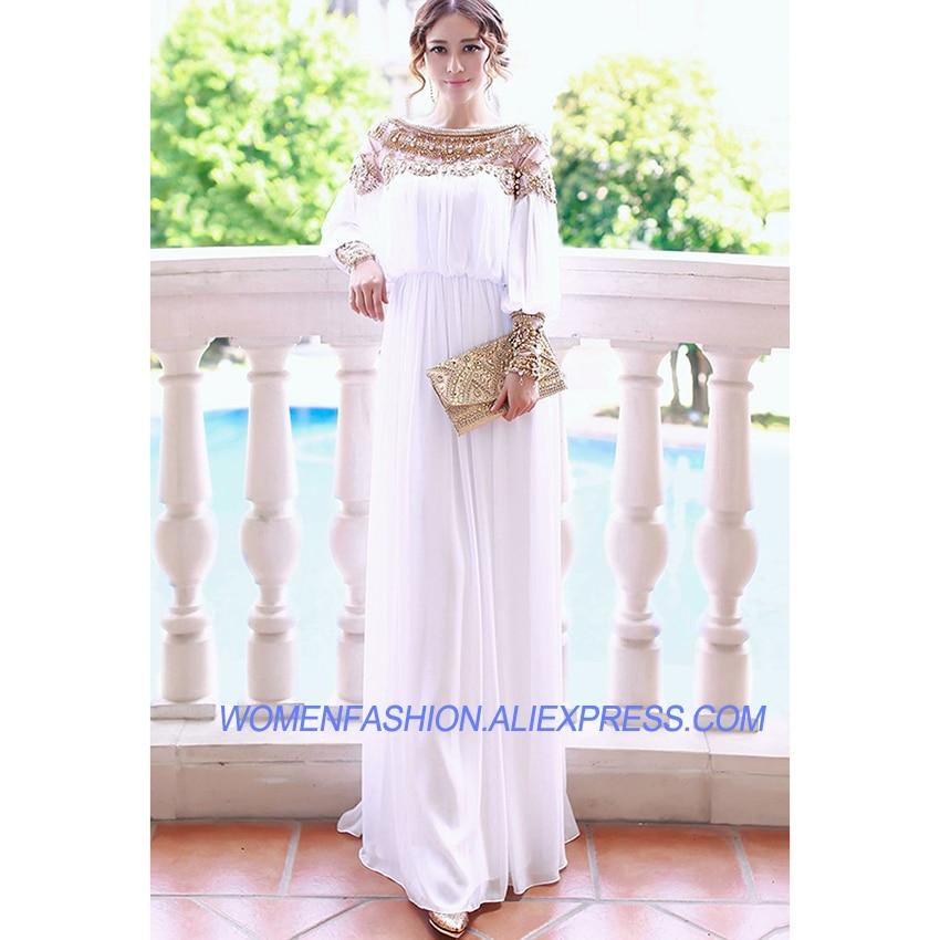 Longue Formelle Luxe Élégante Longues Sucré Blanc Perlé Mode De À Femmes Maxi Robe Manches Nouveau gYwvqU