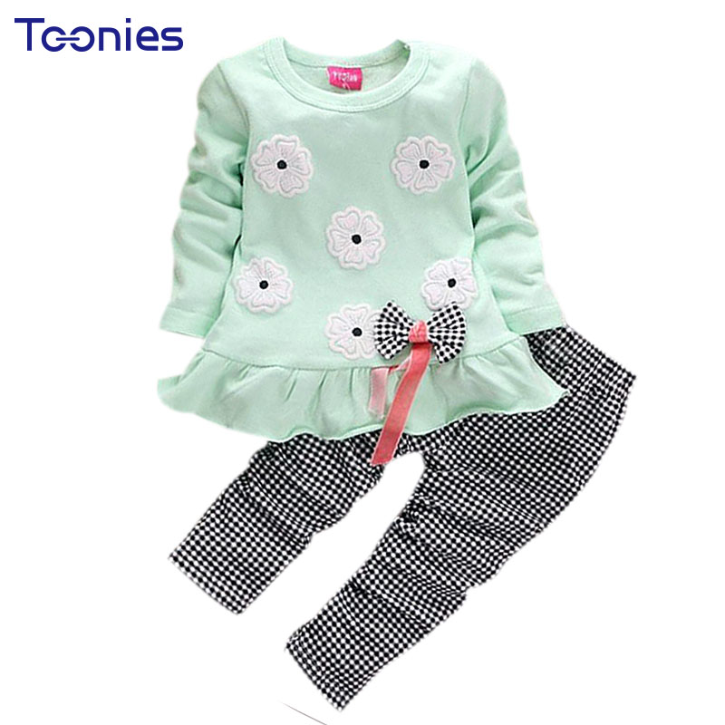 Flowers Print Bow Cute 2Pcs Cloth Set Children Cloth Suit Baby Girl Clothing Set Top T shirt + Pants High Quality YY0366 wireless restaurant calling system 5pcs of waiter wrist watch pager w 20pcs of table buzzer for service