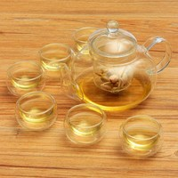 Heat resistant 800ML Borosilicate Glass Tea Pot Set Infuser Teapot Warmer With Strainer Flowers 6 Double Wall Tea Cups