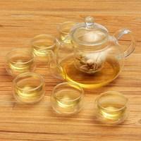 Resistente al calore 800 ML Vetro Borosilicato Tea Pot Set Infusore Teiera Warmer Con Filtro Fiori 6 Doppia Parete tazza di Tè tazze
