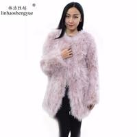 Linhaoshengyue Ostrich hair coat 2016Fashion style 80cm long