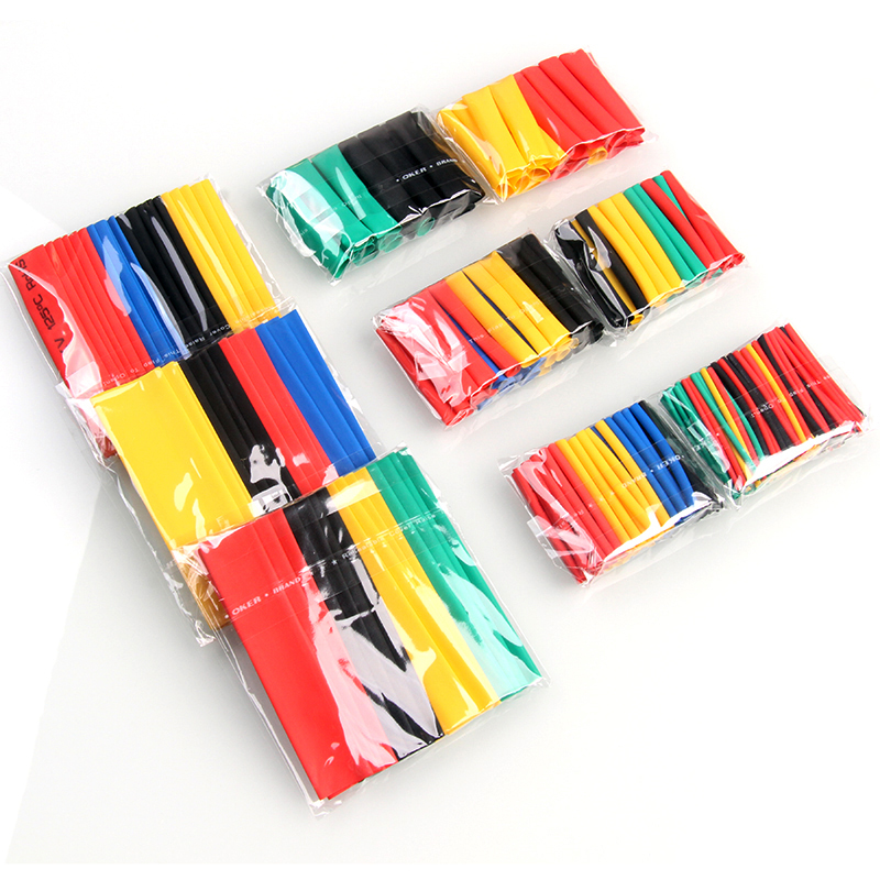 328/127Pcs Assorted Heat Shrink Tubing Tube Sleeves Wrap Wire Set 8 Size Multicolor/Black Polyolefin Tub