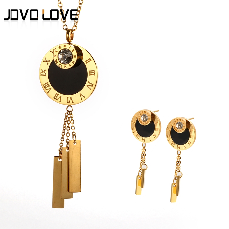 JOVO Luxury Gold Color Long Jewelry Set Women Wedding Gift Simple Design Long Dangle Earrings Vintage Roman Number Necklace yoursfs dangle earrings with long chain austria crystal jewelry gift 18k rose gold plated