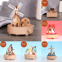 New Wood Music Box Caja Musical Wooden Boxes Handmade Clockwork Craft Free Engrave Happy Birthday Home Decoration Accessories