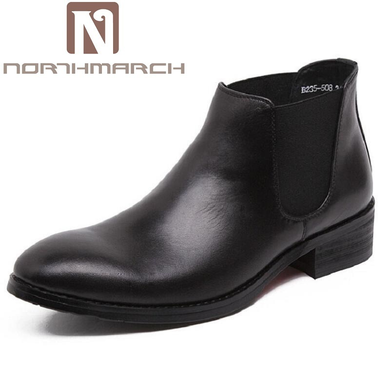 NORTHMARCH Brand Genuine Leather Chelsea Men Shoes British Style Men Boots Ankle High Quality Western Casual Cowhide Boots