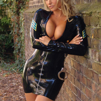 Women sexy latex police uniform full sleeve rubber performance costumes dress plus size hot sale Customize Service