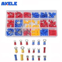 295Pcs/box 18 Types Insulated Terminals Cable Wire Connector Insulating Spade Ring Fork Assortment Kit With Box