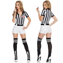 Футбольный детский сексуальный костюм в черно-белую полоску для рефери в европейском стиле, пикантное нарядное платье для футбольного рефери
