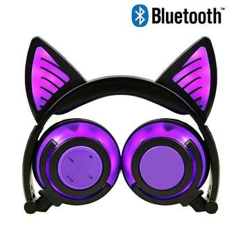 YiJee Bluetooth Earphone Wireless Headphones Bluetooth Cat Ear Headset Glowing with LED Light for PC Xiaomi Phone