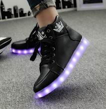 Size 35-46 Tenis De Led Shoes 2017 Fashion Women Light Up Shoes Ladies White/black High Top Casual Growing Shoes Zapatos Mujer