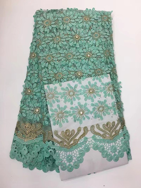 gold green 5 yards guipure lace High quality African cord lace fabric with  embroidery eyelet holes