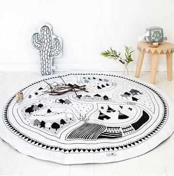 100% Cotton Kids Game Mats Baby Crawling Blanket Round Play Mat Chilren Play Rug Racing Games Carpet Infant Room