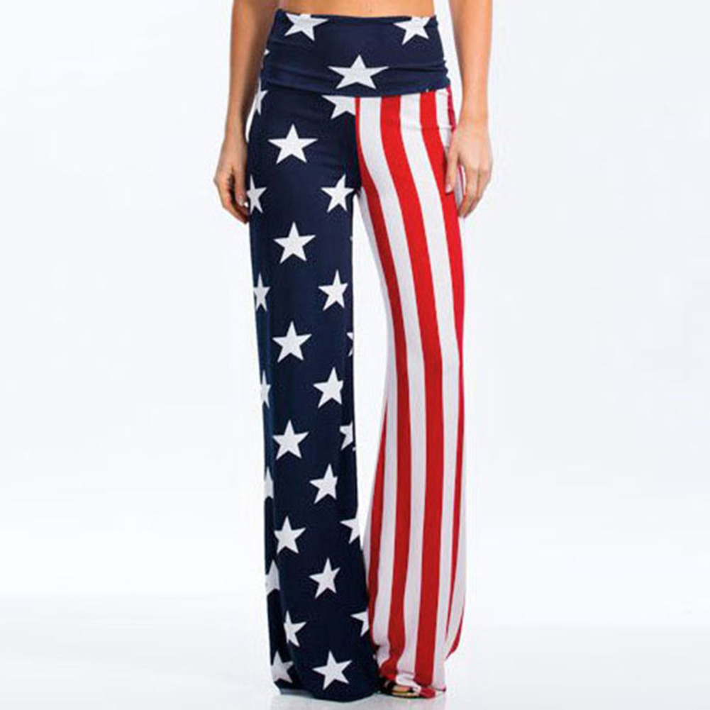 Fashion Personality Women Pants Flag Stars Stripes Printed Elastic High Waist Casual Loose Wide Legs Soft Long Summer Trousers